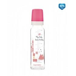 Skleněná lahvička 240ml Sweet Fun  - růžová
