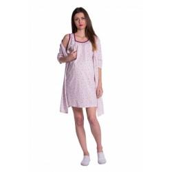 Těhotenská, kojící noční košile + župan - květinky, růžová