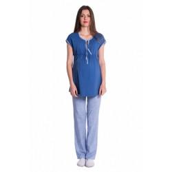 Těhotenské,kojící pyžamo - jeans/modrá