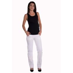 Bavlněné, těhotenské kalhoty s kapsami - bílé