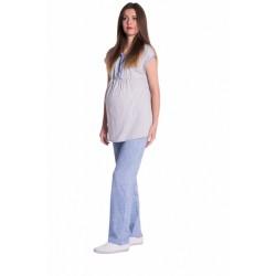Těhotenské,kojící pyžamo - šedá/modrá