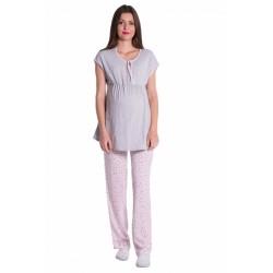 Těhotenské,kojící pyžamo květinky - šedá/růžová