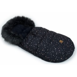 Mamo Tato Zimní fusak Lux s kožešinkou, Galaxie 50 x 100cm - černý
