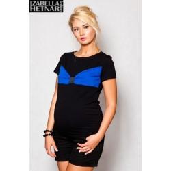 Těhotenské triko/halenka LOLA - černá/modrá