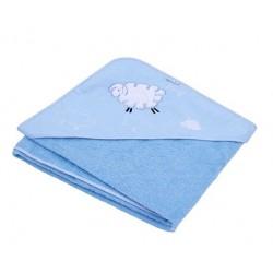 Osuška s kapucí - Ovečka Fluffy - modrá