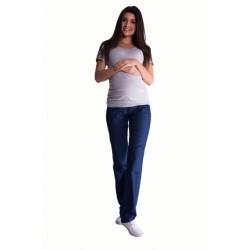Bavlněné, těhotenské kalhoty s regulovatelným pásem - tm. modré