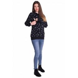 Těhotenská a kojící mikina se zipy a stojáčkem, hvězdičky - černá