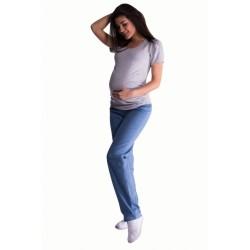 Bavlněné, těhotenské kalhoty s regulovatelným pásem - sv. modré