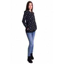 Těhotenská a kojící mikina se zipem a kapucí, hvězdičky - černá