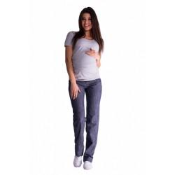 Bavlněné, těhotenské kalhoty s regulovatelným pásem - granát