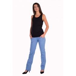 Bavlněné, těhotenské kalhoty s kapsami - sv. modré