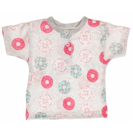 Bavlněné Polo tričko s krátkým rukávem Donuty - šedé