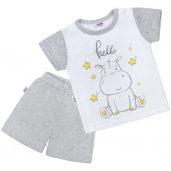 Dětské letní pyžamko New Baby Hello s hrošíkem bílo-šedé, Šedá, 92 (18-24m)