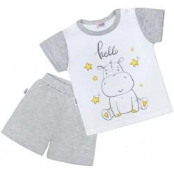 Dětské letní pyžamko New Baby Hello s hrošíkem bílo-šedé, Šedá, 98 (2-3r)