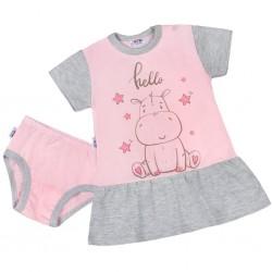 Letní noční košilka s kalhotkami New Baby Hello s hrošíkem růžovo-šedá, Růžová, 98 (2-3r)
