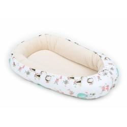 Oboustranné hnízdečko Velvet - kokon pro miminko - pískové/zvířátka