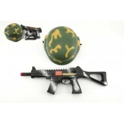 Vojenská sada helma přilba samopal na setrvačník 31cm plast v síťce