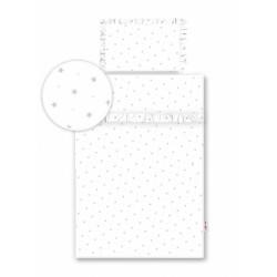 2-dílné bavlněné povlečení s volánky - bílé/hvězdičky šedé
