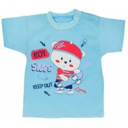 Bavlněné tričko - Medvídek Skate  - tyrkysové