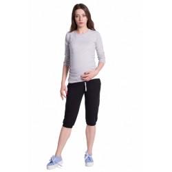 Moderní těhotenské 3/4 kalhoty s kapsami - černé