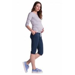 Moderní těhotenské 3/4 kalhoty s kapsami - navy