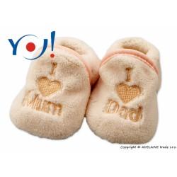 Botičky/ponožtičky YO ! I LOVE - sv. béžové