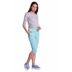 Moderní těhotenské 3/4 kalhoty s kapsami - mátové