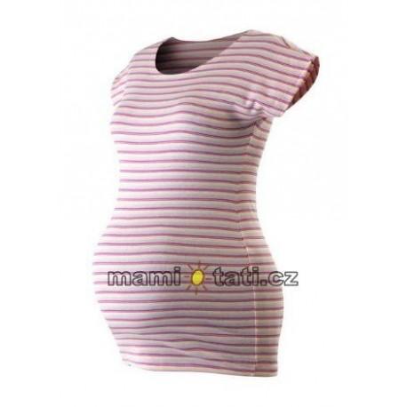 d56041e4ef39 Těhotenské triko krátký rukáv PROUŽEK - růžová-bílá