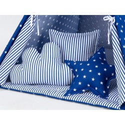 Polštáře pro stan teepee, týpí - hvězdičky bílé na modrém/modré proužky