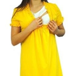 Těhotenská, kojící noční košile s volánkem - žlutá