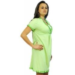 Těhotenská, kojící noční košile s volánkem - sv. zelená