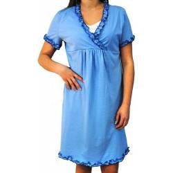 Těhotenská, kojící noční košile s volánkem - modrá