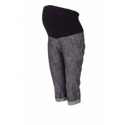 Těhotenské 3/4 kalhoty s elastickým pásem - černé/melírované