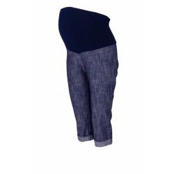 Těhotenské 3/4 kalhoty s elastickým pásem - granát/melírované