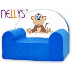 Dětské křesílko/pohovečka Nellys ® - Opička Nellys modrá