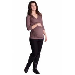 Těhotenské, kojící triko 3/4 rukáv - cappucino