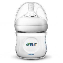 Kojenecká láhev Avent Natural transparentní 125 ml, Transparentní