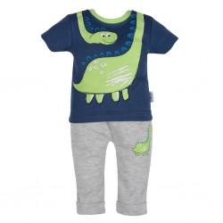 Kojenecké tričko s krátkým rukávem a tepláčky New Baby Dino, Šedá, 62 (3-6m)