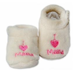 RiSocks Botičky/capáčky I LOVE Mama - smetanové