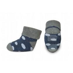 Kojenecké froté ponožky, Risocks protiskluzové, puntíky - šedá/granát/bílá