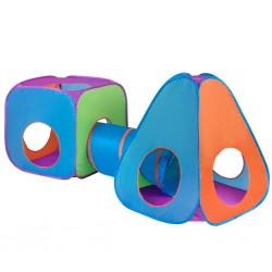 Dětský stan PlayTo 3v1 oranžovo-modrý, Multicolor