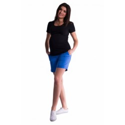 Těhotenské kraťasy s elastickým pásem - modrá/mořská