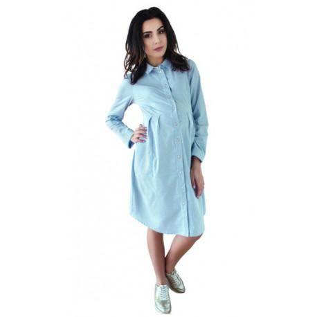 70b847770848 Těhotenské šaty tunika dl. rukáv - modré - Bezpečné Batole