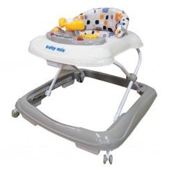 Dětské chodítko Baby Mix s volantem a silikonovými kolečky beige, Béžová