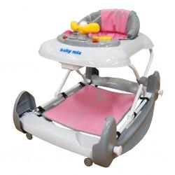 Dětské chodítko s houpačkou a silikonovými kolečky Baby Mix růžové, Růžová