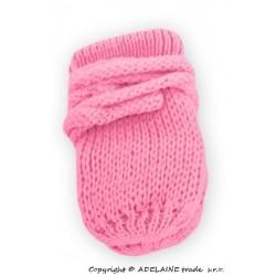 Zimní pletené  kojenecké rukavičky - růžové