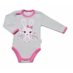 Baby Nellys Kojenecké body, dl. rukáv, Lovely Bunny - šedé/růžové