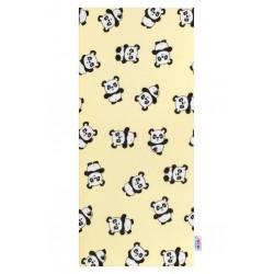Flanelová plena s potiskem New Baby žlutá s pandami, Žlutá