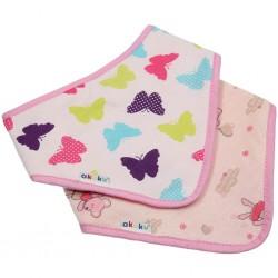 Dětský bryndáček-šátek Akuku 2 ks motýlek-myška, Růžová
