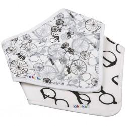 Dětský bryndáček-šátek Akuku 2 ks kolo-brýle, Bílá